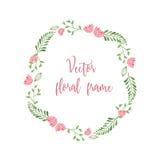 Gullig blom- rund ram med liten rosa färgblommor och gree Royaltyfri Foto