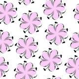 Gullig blom- sömlös modell, rosa blom- bakgrund Stilla tapeten Blommatextur Arkivfoton
