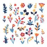 Gullig blom- uppsättning royaltyfri illustrationer