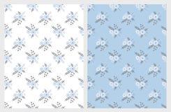 Gullig blom- vektormodell Förtjusande blåa buketter blå white för bakgrund royaltyfri illustrationer