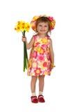 gullig blommaflicka som little ger sig Arkivfoto