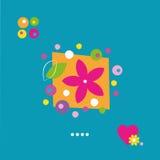 Gullig blommahjärta och prickhälsningkort Royaltyfri Fotografi