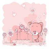 gullig blommaholding för björn Arkivbilder