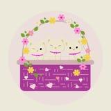 Gullig blommakattunge Royaltyfri Illustrationer
