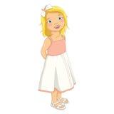 Gullig blond flickavektorillustration vektor illustrationer