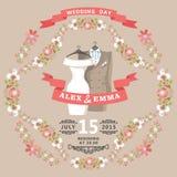 Gullig bröllopinbjudan med bröllopkläder och den blom- ramen Fotografering för Bildbyråer