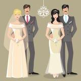 Gullig bröllopuppsättning av den tecknad filmparbruden och brudgummen Royaltyfri Fotografi
