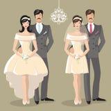 Gullig bröllopuppsättning av den tecknad filmparbruden och brudgummen Royaltyfri Bild