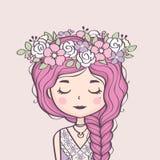 gullig brudtärnakran Härlig flicka med den flätad tråden och blommor vektor illustrationer