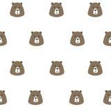 Gullig brunbjörn för sömlös modell stock illustrationer
