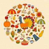 Gullig cirkel för klotter för tacksägelseferier vektor illustrationer