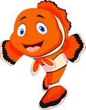 Gullig clownfisktecknad film Royaltyfria Bilder