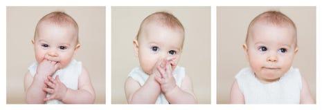 Gullig collage av lilla barnet behandla som ett barn lite pojken som gör den olika framsidan Royaltyfria Foton
