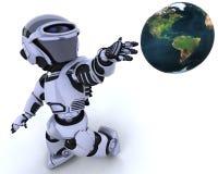 gullig cyborgrobot royaltyfri illustrationer