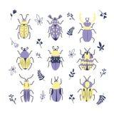 Gullig decorativvektoruppsättning av den olika klotterfel, skalbaggar, blad och filialen Samlingen för vektordesignkrypet isolera royaltyfri illustrationer