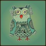 Gullig dekorativ uggla, vektorillustration Spets- fågel Fotografering för Bildbyråer