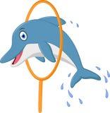 Gullig delfintecknad filmbanhoppning stock illustrationer