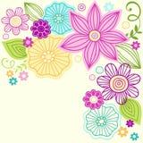 Gullig design för blommaklottervektor Royaltyfria Bilder