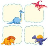 Gullig dinosaurierammall vektor illustrationer