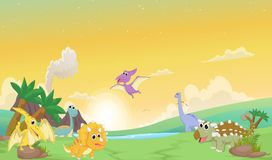 Gullig dinosaurietecknad film med förhistoriskt landskap Arkivfoto