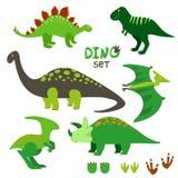 Gullig dinosaurieuppsättning Samling av tecknad filmdinosaurier Royaltyfria Bilder