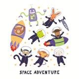 Gullig djur astronautupps?ttning royaltyfri illustrationer