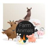 Gullig djur familjbakgrund med lantgårddjur Arkivfoton