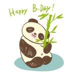 Gullig djur panda med bambu Arkivbild