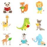 Gullig djur teckenläsebokuppsättning royaltyfri illustrationer