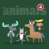 Gullig djurtecknad film inklusive älgkatthäst och apa Royaltyfri Foto