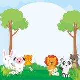 Gullig djurvektorillustration, djur tecknad film, djurbakgrund Fotografering för Bildbyråer