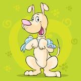 Gullig docka för hundhållvalp - vektorillustration stock illustrationer