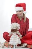 gullig dockaflicka för jul Fotografering för Bildbyråer