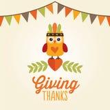 Gullig dräkt för lycklig tacksägelsekortuggla som ger tack royaltyfri illustrationer