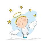 Gullig drömlik ängel med stjärnor över vektor illustrationer
