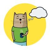 Gullig dragen katt för tecknad film hand med koppen kaffe och speechbubble för text stock illustrationer