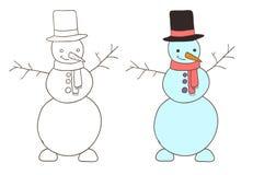 Gullig dragen snögubbe för tecknad film hand Arkivbild