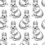Gullig dragen stil för kanin hand seamless modell Royaltyfri Bild