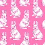 Gullig dragen stil för kanin hand seamless modell Arkivbilder