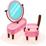 Gullig dressingtabell med stol Royaltyfri Fotografi