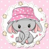 Gullig elefant i den Panama hatten på en rosa bakgrund royaltyfri illustrationer