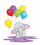 Gullig elefant med ballongillustrationen royaltyfri illustrationer