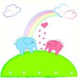 gullig elefantförälskelse stock illustrationer