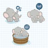 Gullig elefantfamilj med lite elefanten i mitt stock illustrationer