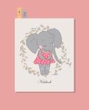 Gullig elefantflicka i klänning Royaltyfri Foto