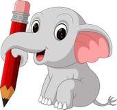 Gullig elefantinnehavblyertspenna Royaltyfria Bilder