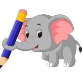 Gullig elefantinnehavblyertspenna Royaltyfri Fotografi