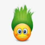 Gullig emoticon med grönt hår - emoji - vektorillustration royaltyfri illustrationer