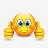 Gullig emoticon med tummar upp, emoji - illustration stock illustrationer