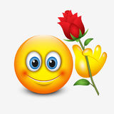 Gullig emoticon som rymmer den röda rosen - Sankt dag för valentin` s - emoji - vektorillustration stock illustrationer